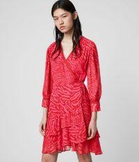 ALLSAINTS KEVA REMIX DRESS PINK ~ tiered ruffle hemline