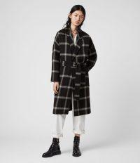 ALLSAINTS LARA CHECK COAT BLACK / LIGHT GREY ~ oversized cocoon shape