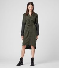 ALLSAINTS LORCA DRESS CHARCOAL / DARK GREEN ~ front gathered dresses