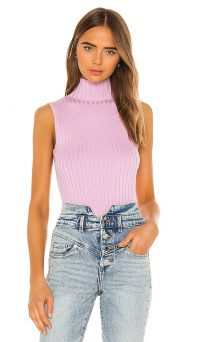 525 america Rib Mock Neck Tank in Electric Lilac Multi – ribbed sleveless high-neck tops