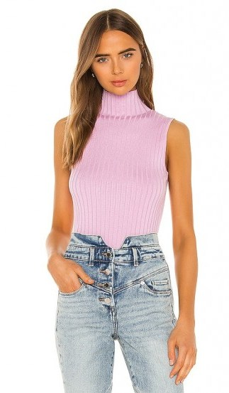 525 america Rib Mock Neck Tank in Electric Lilac Multi – ribbed sleveless high-neck tops - flipped