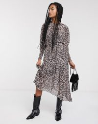 & Other Stories bleached floral balloon sleeve midi dress in multi
