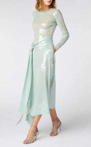 ROLAND MOURET ANGELO DRESS in SEAGREEN ~ luxe event dresses - flipped