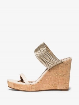 Aquazzura Cream And Gold Rendez Vous 105 Wedge Sandals | strappy wedged mules - flipped