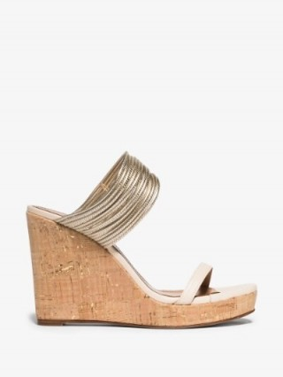 Aquazzura Cream And Gold Rendez Vous 105 Wedge Sandals | strappy wedged mules