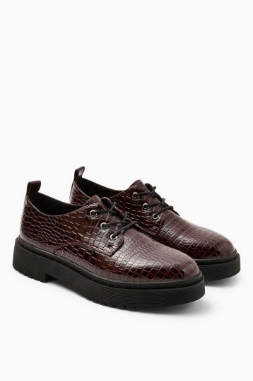 TOPSHOP ARCHER Burgundy Crocodile Lace Up Brogues - flipped