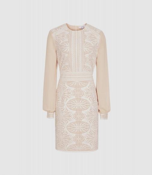 REISS ARIA LACE-DETAIL DRESS NEUTRAL