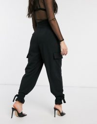 ASOS DESIGN crepe peg trouser with tie cuff in black – evening pants