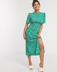 ASOS DESIGN midi tea dress with buttons and split detail in green floral print | vintage look dresses