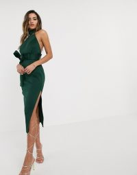 ASOS DESIGN paperbag halter pencil midi dress in green