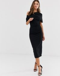 ASOS DESIGN pleated shoulder pencil dress in black – lbd