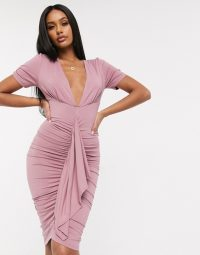 ASOS DESIGN puff sleeve plunge neck ruched mini dress in mauve-pink