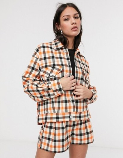 ASOS DESIGN tailored shacket co-ord in orange check / checked fashion sets - flipped