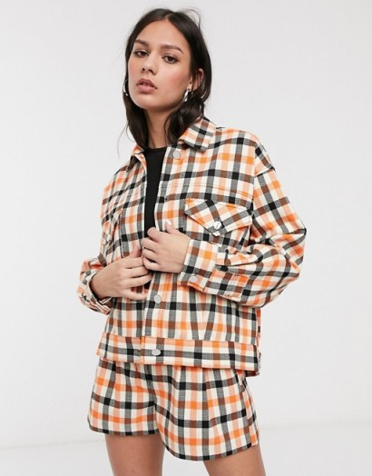 ASOS DESIGN tailored shacket co-ord in orange check / checked fashion sets