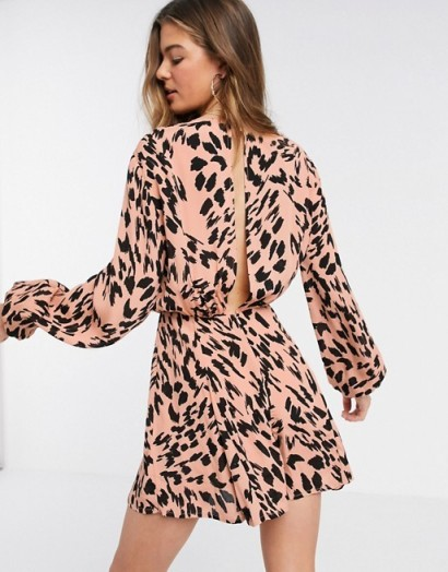 ASOS DESIGN Tall floaty playsuit with godet inserts in smudged animal print