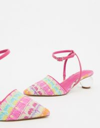 ASOS DESIGN Wide Fit Writer ball heels in multi weave