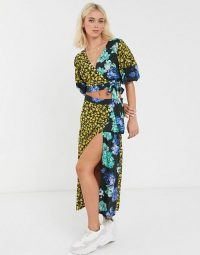 ASOS DESIGN wrap top and midi skirt co-ord in mixed print