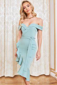 LAVISH ALICE asymmetric bardot wrap ruffle dress in sage green – off the shoulder