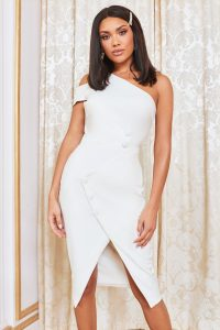 LAVISH ALICE asymmetric button detail midi dress in white