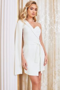 LAVISH ALICE asymmetric cape mini blazer dress in white – contemporary jacket dresses