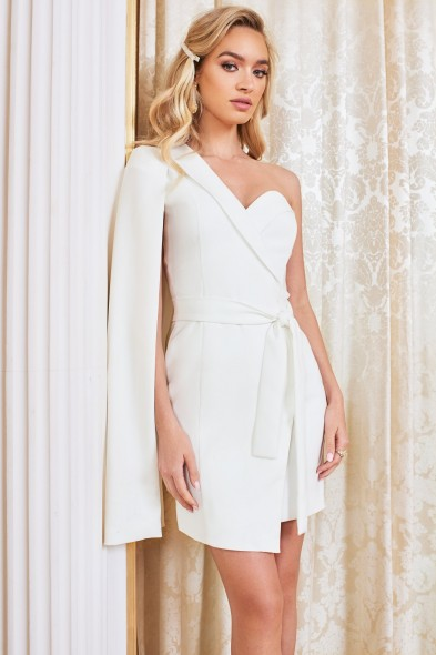 LAVISH ALICE asymmetric cape mini blazer dress in white – contemporary jacket dresses