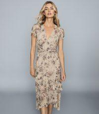 REISS AUDREY LAMÉ DETAILED CHIFFON MIDI DRESS NUDE ~ asymmetric hemline dresses ~ gold detailing
