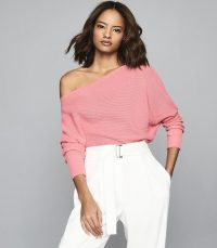 REISS AVA DRAPED RIBBED-KNIT JUMPER PINK
