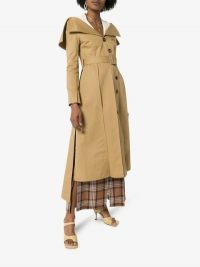 A.W.A.K.E. Mode Off-The-Shoulder Trench Coat | neutral belted coats