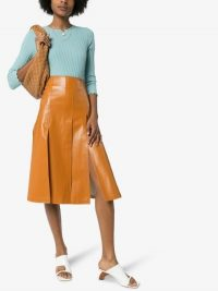 A.W.A.K.E. Mode Vegan Leather Midi Skirt in caramel-brown | front split details