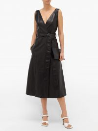 PETAR PETROV Awel V-neck belted leather dress – matches fashion