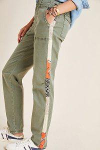 Anthropologie Wanderer Side-Striped Cargo Trousers in Moss