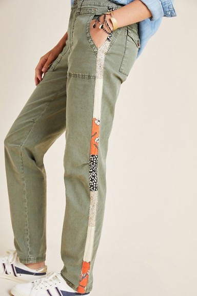 Anthropologie Wanderer Side-Striped Cargo Trousers in Moss