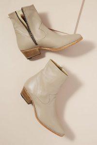 Winna Leather Cowboy Boots in Grey