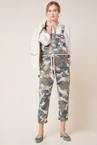 Anthropologie Carter Utility Dungarees Green / printed overalls - flipped