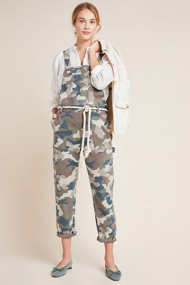 Anthropologie Carter Utility Dungarees Green / printed overalls