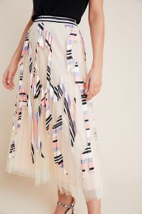 Geisha Designs Valle Graphic-Tulle Skirt in Pink