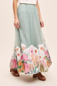 Anthropologie – Rachel Embroidered-Applique Tulle Skirt in Mint