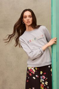 Anthropologie x Delpozo Embroidered-Logo Sweatshirt in Grey