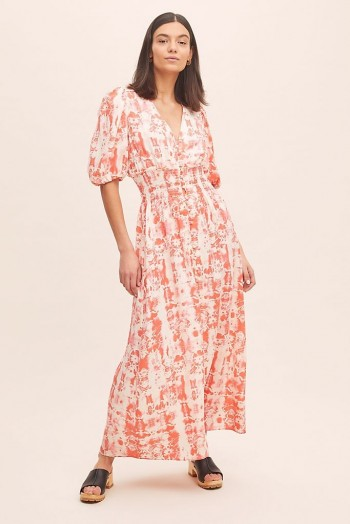 ANTHROPOLOGIE Ivy Printed Maxi Dress Red Motif