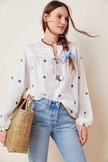 Conditions Apply Embroidered Peasant Blouse in Neutral Motif - flipped