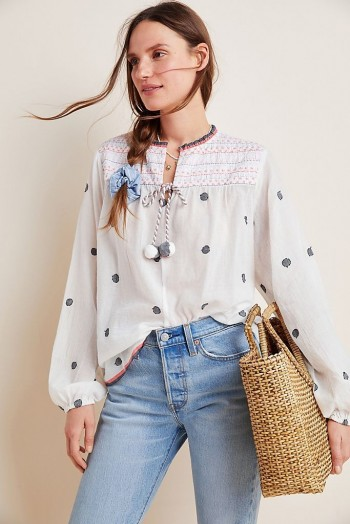 Conditions Apply Embroidered Peasant Blouse in Neutral Motif