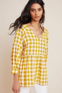 Maeve April Babydoll Blouse in Dark Yellow