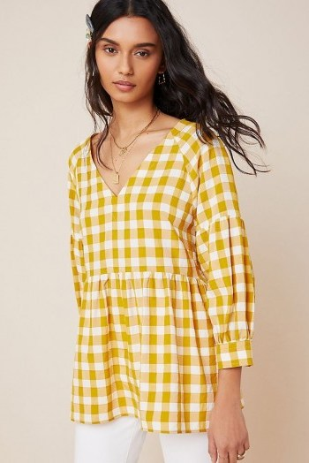 Maeve April Babydoll Blouse in Dark Yellow - flipped