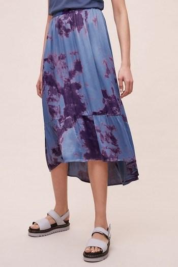 Kirei Adanah Tie-Dye Midi Skirt in Blue / tiered hemlines - flipped