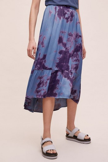 Kirei Adanah Tie-Dye Midi Skirt in Blue / tiered hemlines
