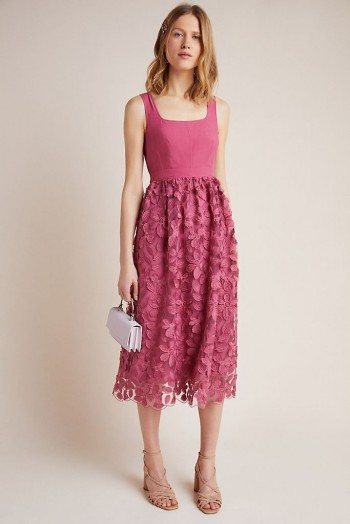 Maeve Virginia Textured Midi Dress Light Red