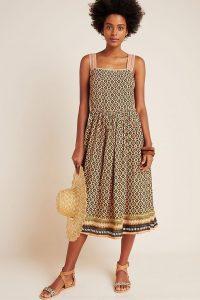 Bl-nk Katya Shimmer Midi Dress in Moss / metallic thread dresses