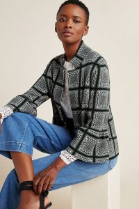 ANTHROPOLOGIE Hillary Plaid Jacket in Green Motif