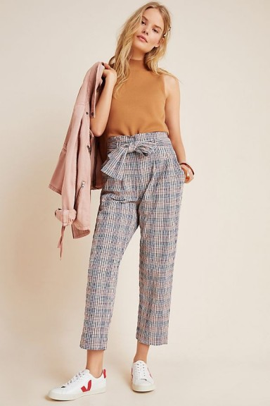 ANTHROPOLOGIE Hazelle Plaid Slim Trousers in Navy / cropped tie waist pants