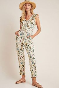 ANTHROPOLOGIE Violet Ruffled Utility Jumpsuit in Neutral Motif / pretty flower print jumpsuits / ready for summer 2020